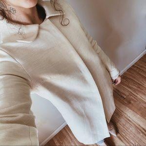 CHLOE Textured Cotton Silk Blend Peacoat Ivory 36